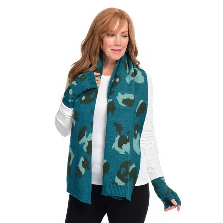 Laundry by Design - 743-642 Laundry by Design Leopard Jacquard Scarf & Gloves Set
