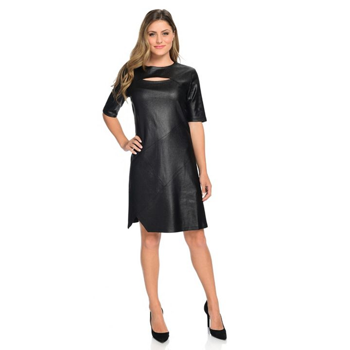 Kate & Mallory at ShopHQ | 743-747 Kate & Mallory® Faux Leather Elbow Sleeve Cut-out Front Seam Detailed Dress