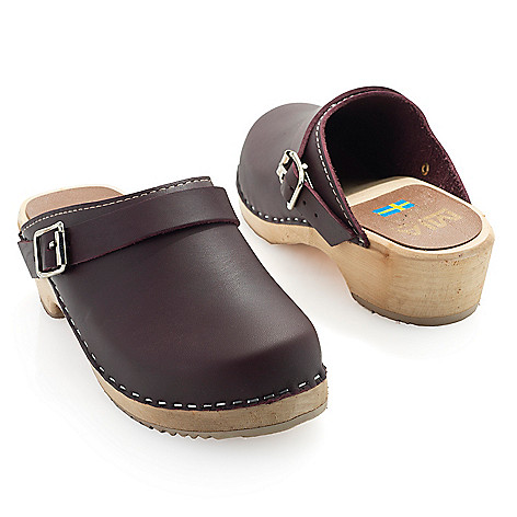 "MIA_""Alma"" Leather Buckle_Detailed Wood_Heel Slip-on_Clogs"