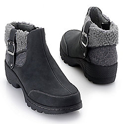 J-Sport by Jambu - 743-906 JBU by Jambu Haven Faux Shearling Cuff Plush Lined Ankle Boots - 743-906
