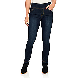 Pants - 743-913 One World Stretch Denim Elastic Waist 5-Pocket Pull-on Skinny Jeans - 743-913