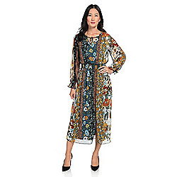 mōd x Multi Print Woven Long Sleeve Tie-Neck Smocked Waist Lined Dress