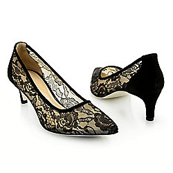 744-011 Ron White Marie Lace & Cashmere Suede Leather Kitten Heel Pumps - 744-011