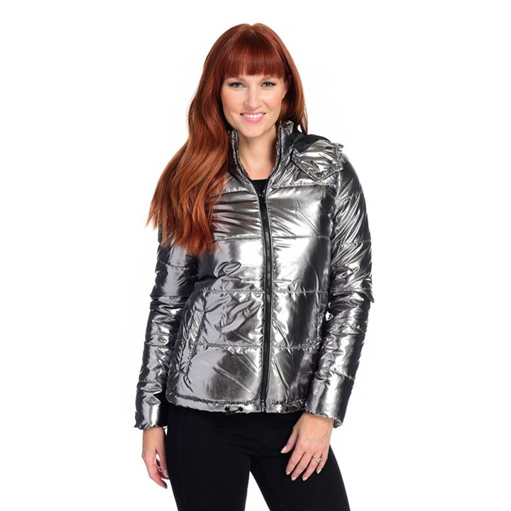 First Frost Fashions Giftable Style up to 65% Off at ShopHQ | 744-034 mōd x Metallic Woven Stand Collar Puffer Jacket w Removable Hood