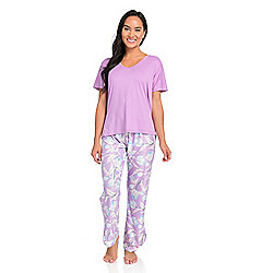Everyday Koze by Harve Benard Solid Knit Top & Printed Pants Pajama Set