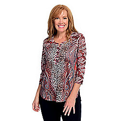 One World Mixed Print Knit Burnout Sleeve Button-up Henley Top