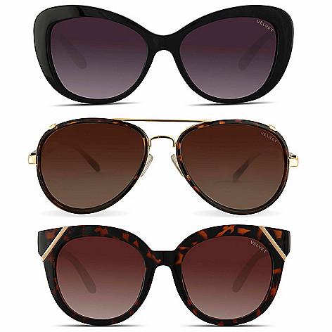 bc89be6f61460 744-221- Velvet Eyewear Set of 3 Sunglasses for Oval Shaped Face