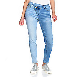 mōd x Two-Tone Denim Asymmetrical Button Front 5-Pocket Jeans