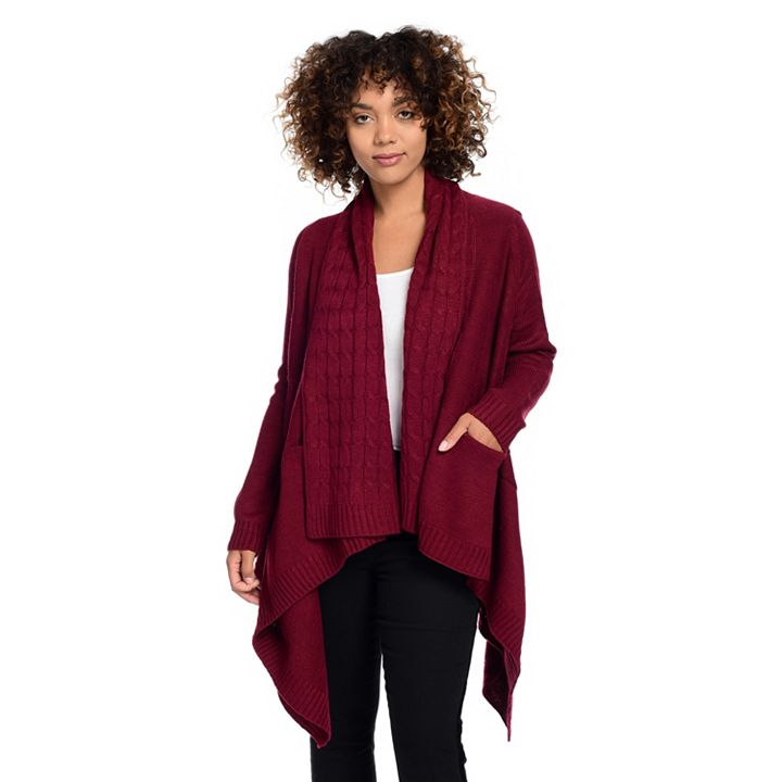 StyleHQ Thursday's Are Looking Good - Kate & Mallory® Mixed Stitch Knit Long Sleeve Open Front 2-Pocket Cardigan
