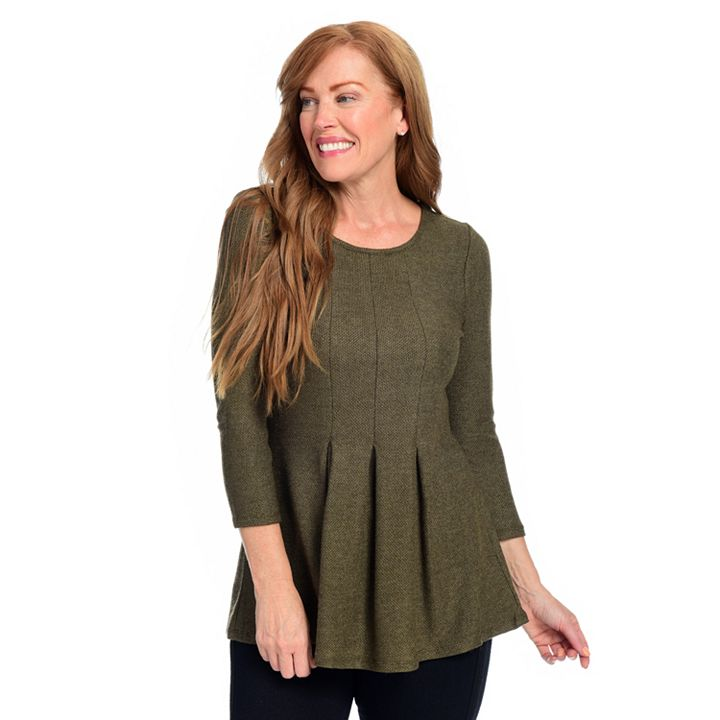 Wake up in Style With Fatima On-Trend & up to 60% Off at ShopHQ 744-420 Kate & Mallory® Knit 34 Sleeve Scoop Neck Pleat Detailed Zip Back Sweater