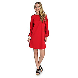 Kate & Mallory® Knit Cut-out Detailed Sleeve Keyhole Back Knee-Length Dress