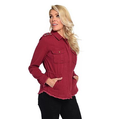 More Shopping, Less Shipping Bring Home a New Look and Save at ShopHQ | 744-543 Indigo Thread Co.™ 100% Cotton Pointed Collar Bead Detailed Utility Jacket