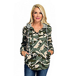 Fashion -  Indigo Thread Co.™ Camo Printed Twill & Knit Button-up Drawstring Hooded Jacket - 744-556