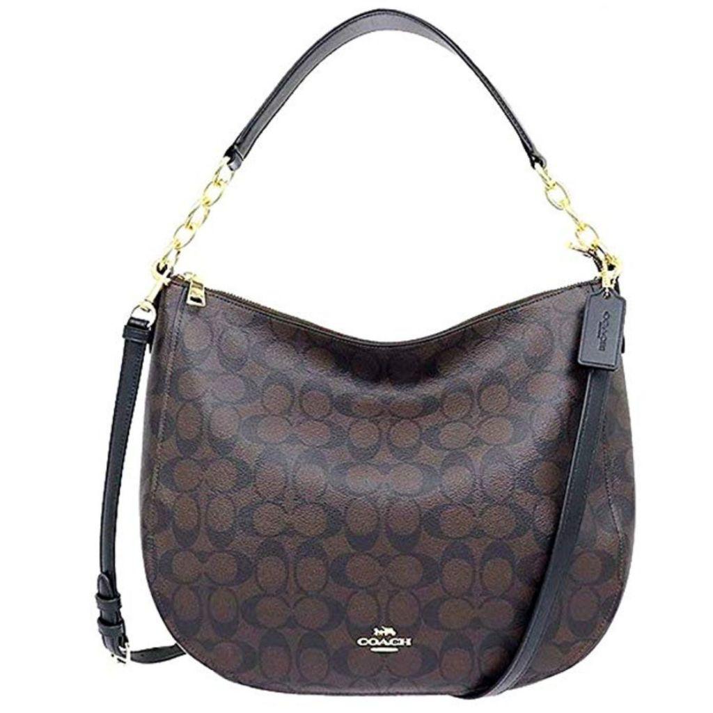 Coach Signature Elle Brown Black Crossgrain Leather Hobo Handbag W Strap
