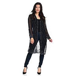 Indigo Moon Woven Sheer 3/4 Sleeve Open Front Bead Embellished Duster