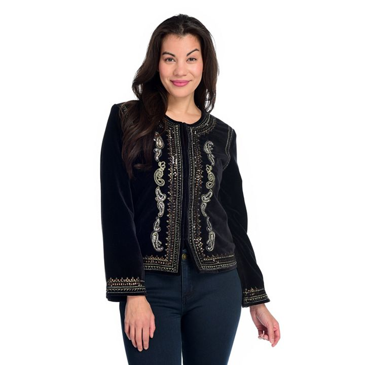 Jackets and Blazers Top Layers You'll Love - 744-752 Indigo Moon Velveteen Beaded, Sequined & Embroidered Bolero Jacket