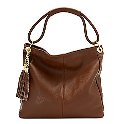 744-822 Ron White Palmerston Soft Tumbled Italian Leather Hobo Bag w Tassel - 744-822