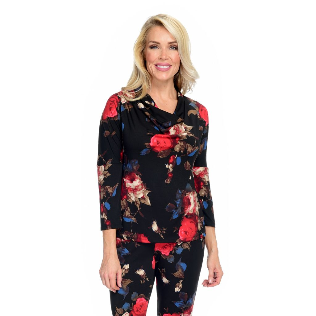 Kate & Mallory® Printed Knit Drop Shoulder Three-Quarter Sleeve Cowl Neck Top - 40% Off - 744-835