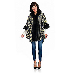 WD.NY Knit Faux Fur Trimmed Hooded Ruana Wrap