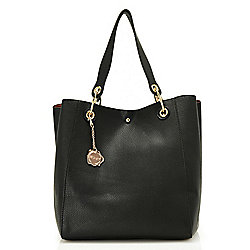 WD.NY Pebbled Shoulder Bag w/ Removable Strap & Detachable Pouch