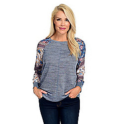 Tops - 744-876 One World Heather Knit & Printed Chiffon Long Sleeve Scoop Neck Top - 744-876
