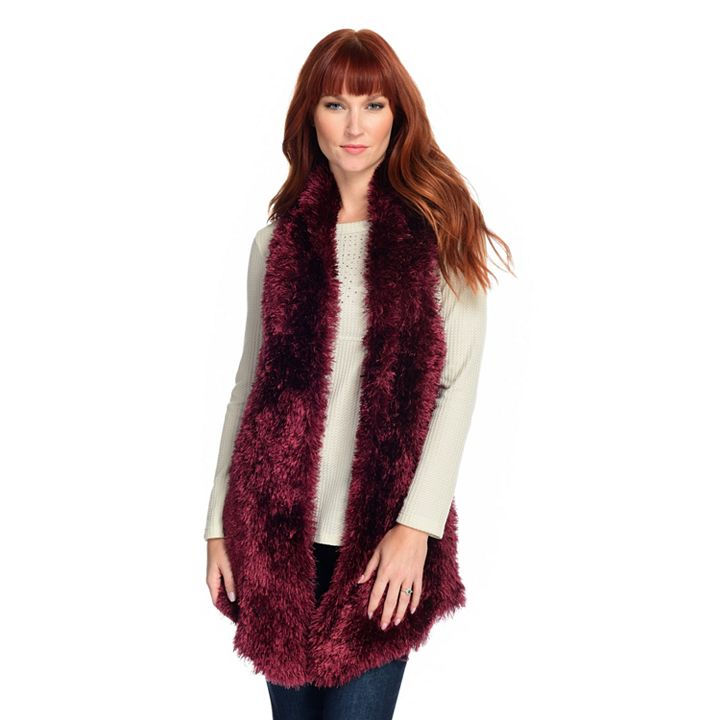 Up TO 80% OFF New Holiday Arrivals - 744-885 One World Eyelash Yarn & Cable Knit Open Front Vest