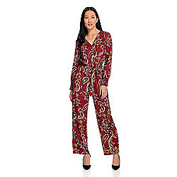 Pants & Jumpsuits - 744-999 Kate & Mallory® Knit Long Sleeve Surplice Neck Elastic Tie-Waist Wide Leg Jumpsuit - 744-999