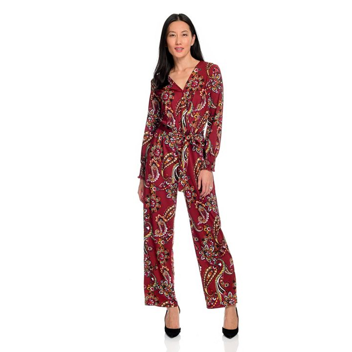 Kate & Mallory The Latest up to 60% OFF at ShopHQ 744-999 Kate & Mallory® Knit Long Sleeve Surplice Neck Elastic Tie-Waist Wide Leg Jumpsuit