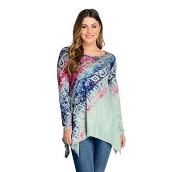 One World Printed Knit Long Sleeve Handkerchief Hem Embellished Top - 745-009