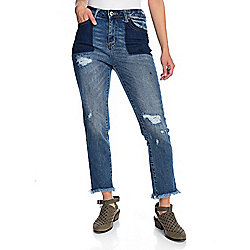 Indigo Thread Co.™ Distressed Denim 5-Pocket Frayed Hem Tapered Leg Jeans