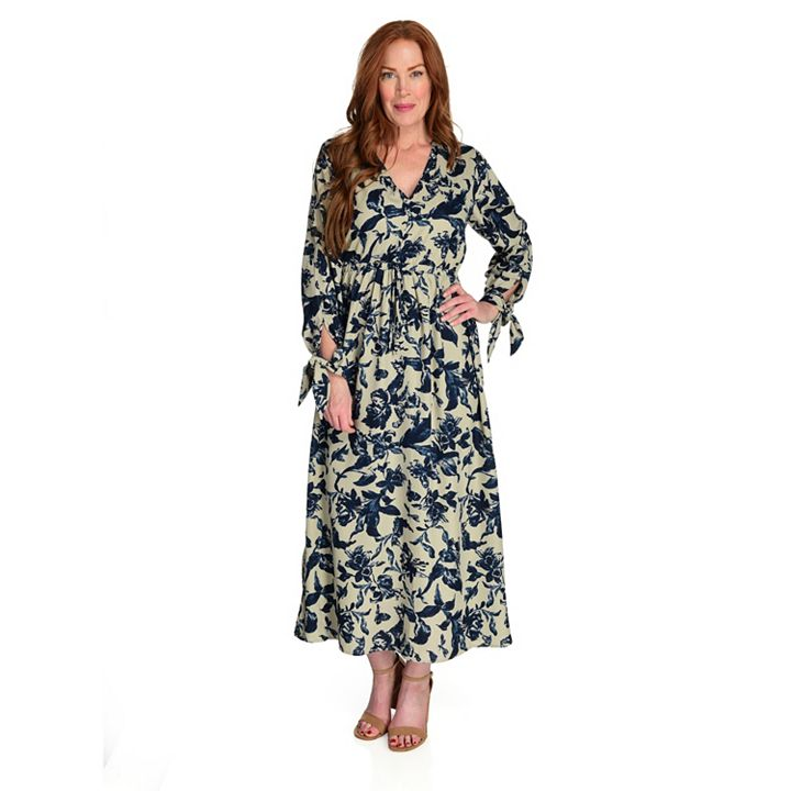 Fashion Must Haves Get Them for up to 60% Off - 745-067 Kate & Mallory® Printed Woven Long Sleeve V-Neck Cold Shoulder Maxi Dress