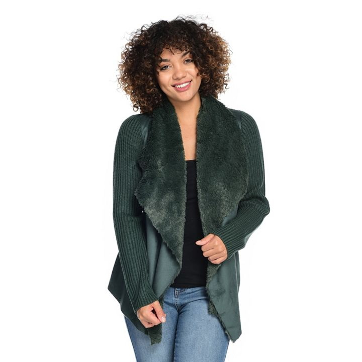 745-086 Indigo Thread Co.™ Faux Suede, Faux Fur & Cable Knit Open Front Cascade Cardigan