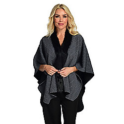 Luxe Addition Textured Knit V-Neck Faux Fur Trimmed Poncho
