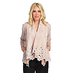 Luxe Addition Faux Suede Long Sleeve Laser Cut Detailed Eyelet Cardigan