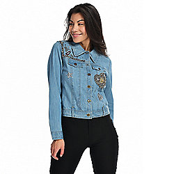 mōd x 100% Cotton Denim Embellished & Sequined Button Front Jacket