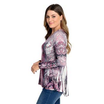 One World Printed Knit Long Sleeve Bustle Back Embellished Top - 745-216