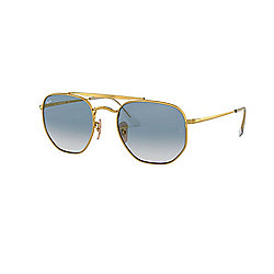 Ray-Ban 54mm Gold Round Designer Sunglasses w/ Case
