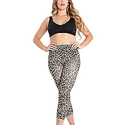 MeMoi Leopard Printed Stretch Knit High Waist Capri Leggings