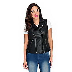Kate & Mallory® Faux Leather Laser Cut 2-Pocket Zipper Detailed Moto Vest