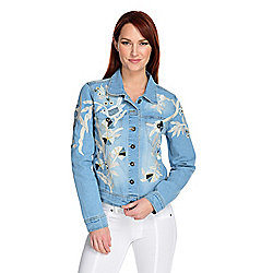 Indigo Moon Denim Floral Embroidered Button-up Jacket