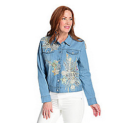 Indigo Moon Stretch Denim Embroidered & Sequined Floral Applique Jacket