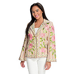 Indigo Moon Striped Woven Floral Embroidered Snap Front Blazer Jacket