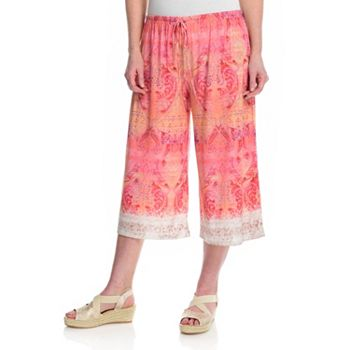 Exclusive Fashion Faves Starting at $10 746-320 One World Printed Knit Elastic Waist Pull-on Cropped Palazzo Pants - 746-320