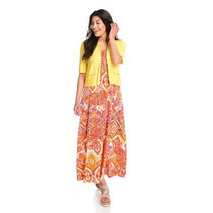 One World Mondays Shop Weekly with Melissa Miner -  746-325 One World Knit Sleeveless Maxi Dress & Elbow Sleeve Cardigan Set