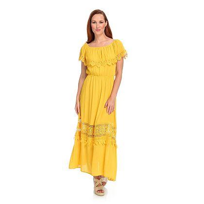 The Dress Shop Summer Style Up to 60% Off 746-767 Indigo Thread Co.™ Woven & Crochet Cap Sleeve Overlay Convertible Neck Maxi Dress