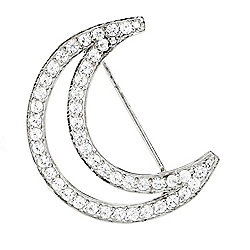 Heather's Closet Stainless Steel Simulated Diamond Moon Brooch