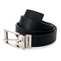 Steve Madden Men's Black & Brown Embossed Reversible Belt