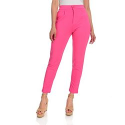 747-623 Heather's Closet Knit Elastic Panel 2-Pocket Cropped or Full-Length Tapered Leg Pants - 747-623
