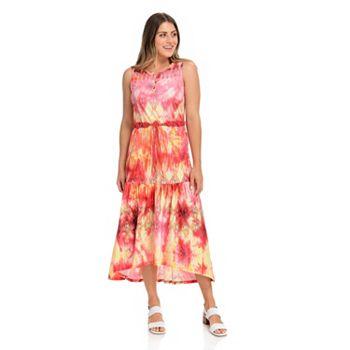 One World Style Starts at $11.99 747-677 One World Knit Sleeveless 3-Button Henley Beaded Belt Midi Dress - 747-677
