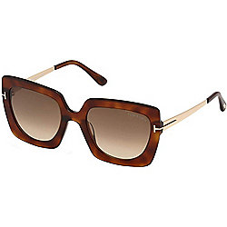 Tom Ford 53mm Jasmine Gradient Brown Lens Square Frame Sunglasses w/ Case